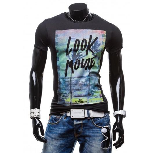 Pánske čierne tričko s potlačou palmy