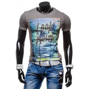 Sivé tričko pre pánov s krátkym rukávom