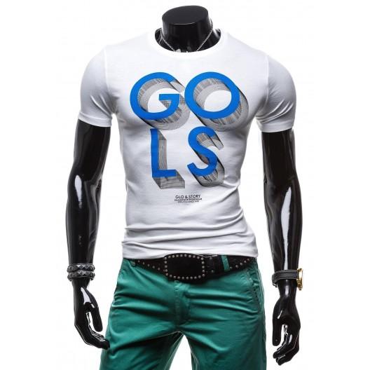 Pánske tričko bielej farby v kombinácií s modrou