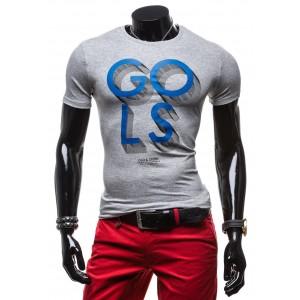 Tričko s krátkym rukávom sivej farby s modrou potlačou