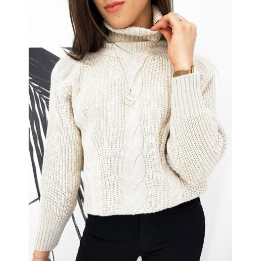 Svetlo béžový dámsky pletený sveter osmičkového vzoru s vysokým golierom