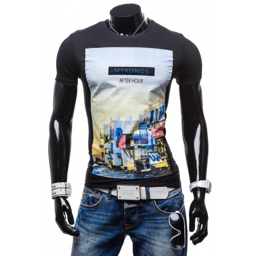 Tričko pre pánov čiernej farby s farebným motívom mesta
