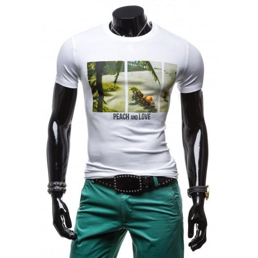 Biele pánske tričko s potlačou palmy a ovocia