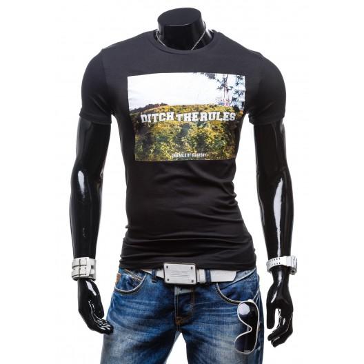 Tričko pre mužov čiernej farby s okrúhlym výstrihom