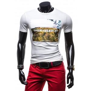 Tričko s potlačou bielej farby