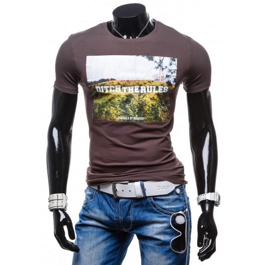 Pánske tričká grafitovej farby s krátkym rukávom