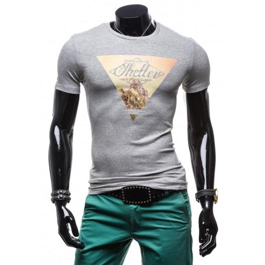 Sivé štýlové pánske tričko s krátkym rukávom