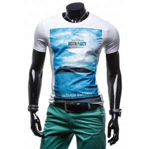 Pánske tričko sivej farby s modrou potlačou