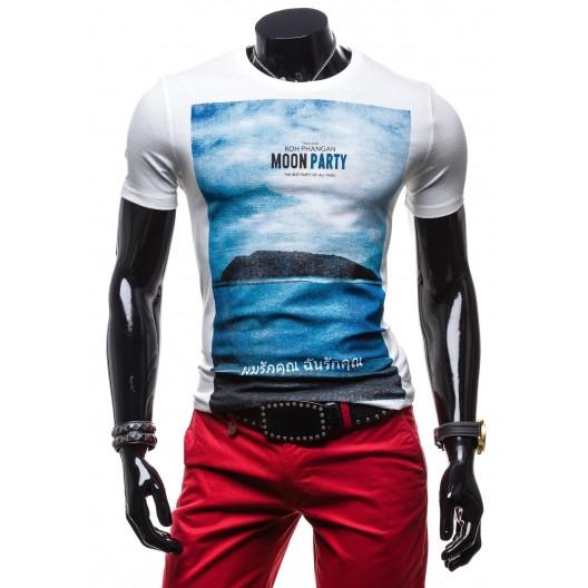 Biele pánske tričko s motívom mora a ostrova