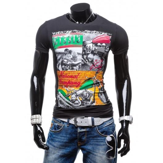Pánske tričko čiernej farby s motívom motorky