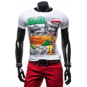 Tričko pre pánov bielej farby s farebnou potlačou