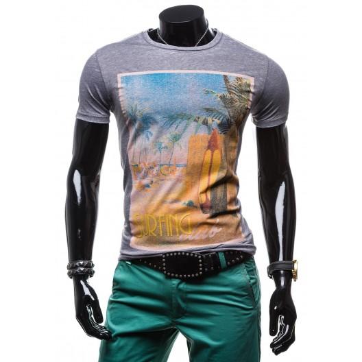 Tričko pre pánov fialovo-sivej farby krátky rukáv