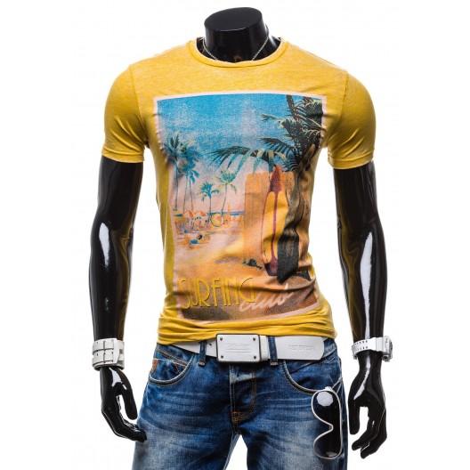 Štýlové pánske tričko horčicovej farby s motívom pláže