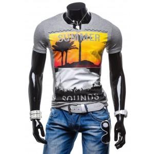 Pánske tričko antracitovej farby s farebnou potlačou