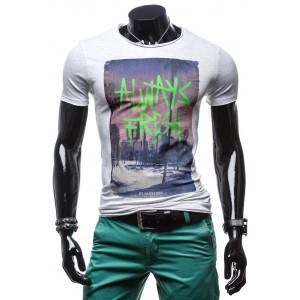 Pánske tričká sivej farby s potlačou
