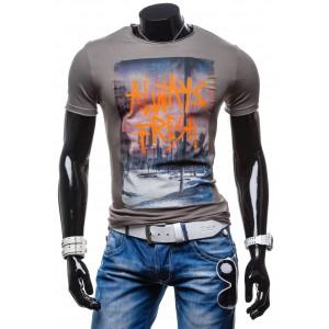 Tričko s motívom budov grafitovej farby