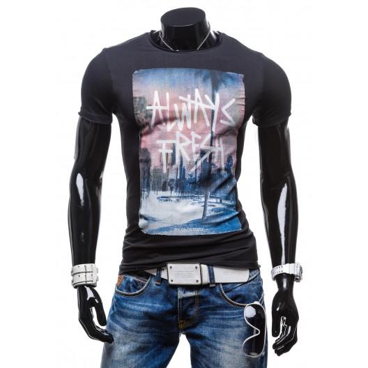 Čierne tričko s potlačou ružovo-modrej farby