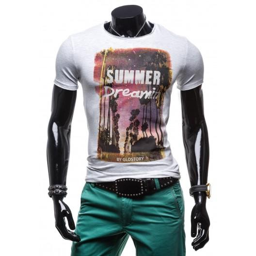 Tričko pre pánov svetlo-sivej farby