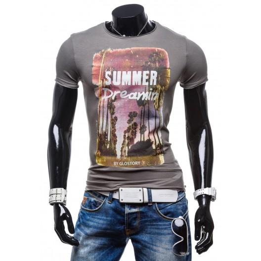 Pánske tričko grafitovej farby s okrúhlym výstrihom