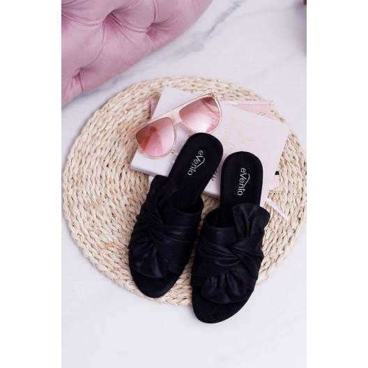 Čierne dámske semišové šľapky s ozdobnou mašľou