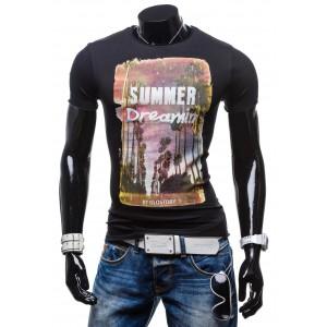 Čierne moderné pánske tričko s krátkym rukávom