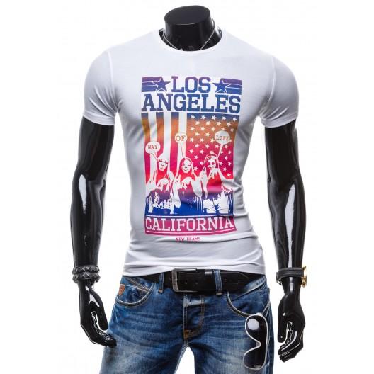 Biele pánske tričko s farebnou potlačou