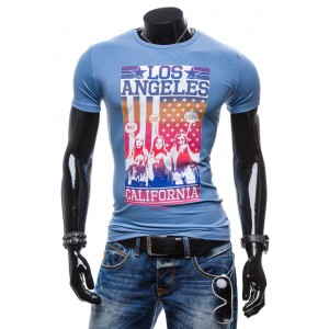 Pánske tričko s nápisom California blankytne modrej farby