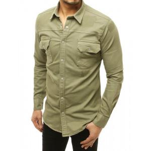 Moderná pánska zelená street košeľa s dlhým rukávom