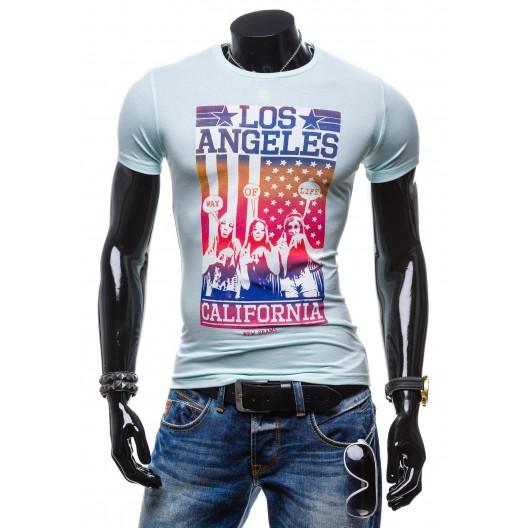 Svetlo tyrkysové pánske tričko s dúhovým motívom