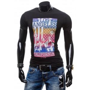 Čierne tričko pre pánov s potlačou a nápisom