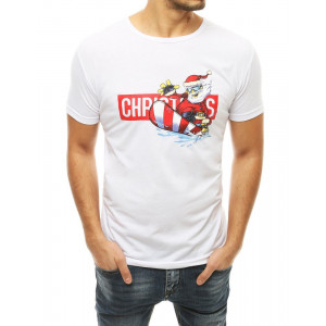 Štýlové pánske tričko v bielej farbe s potlačou