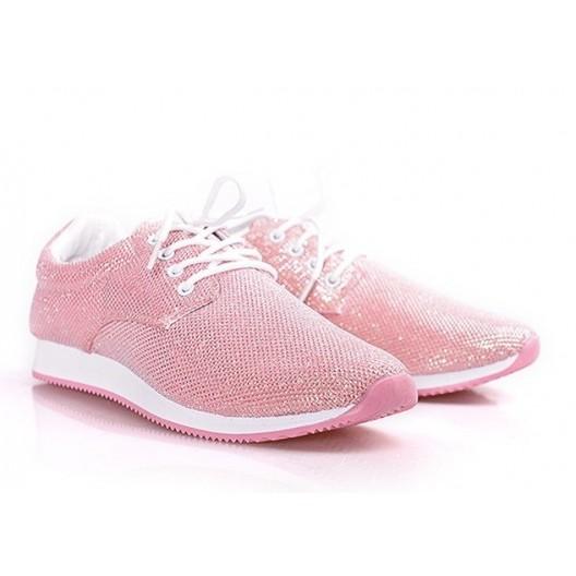 Tenisky dámske lesklej ružovej farby
