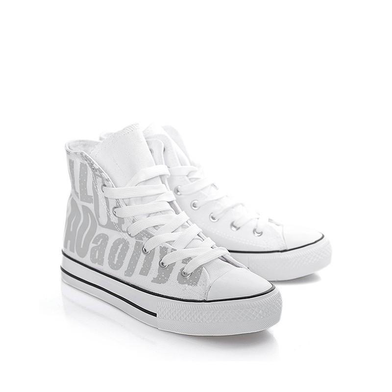 c640269c2b Vysoké dámske tenisky bielej farby so sivou potlačou - fashionday.eu