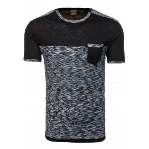 Čierne pánske tričko s krátkym rukávom