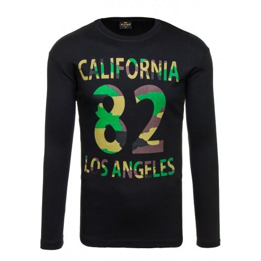 Čierne pánske tričko s dlhým rukávom