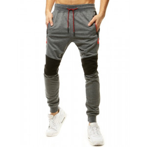 Kvalitné sivé pánske jogger tepláky s kontrastnou čiernou farbou na kolenách