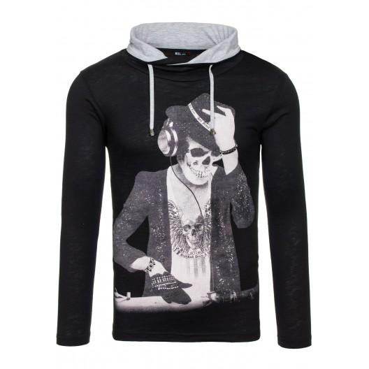 Čierne pánske tričko čiernej farby s motívom DJ kostry