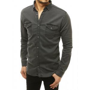 Krásna pánska rifľová košeľa s dlhým rukávom v čiernej farbe