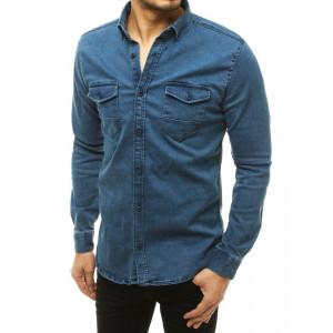 Pohodlná pánska rifľová košeľa s dlhým rukávom