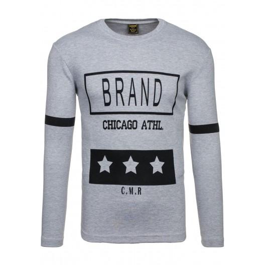 BRAND štýlové pánske tričko sivej farby