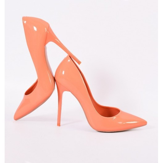 Lesklé dámske lodičky oranžovej farby