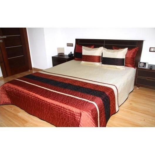 Prehoz na manželskú posteľ krémovo-bordovej farby