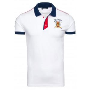 Biele tričko pre pánov s golierom