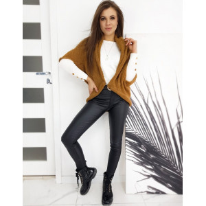 Moderný dámsky hnedý oversize sveter s krátkym rukávom