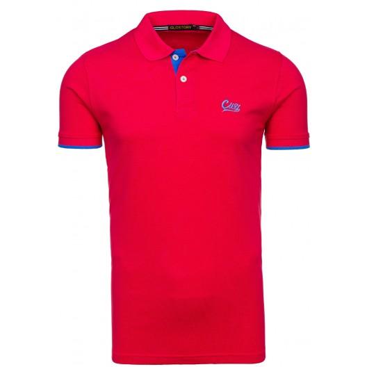 Červené tričko pre pánov s golierom
