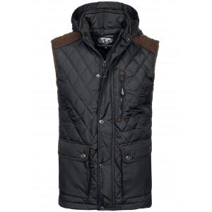 Čierne pánske vesty so odnímateľnou  kapucňou