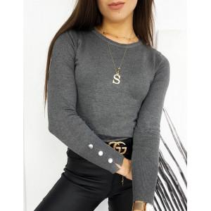 Elegantný tmavo sivý dámsky sveter s dlhým rukávom so zlatými gombičkami