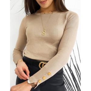Štýlový dámsky béžový sveter pasentného strihu s dlhým rukávom