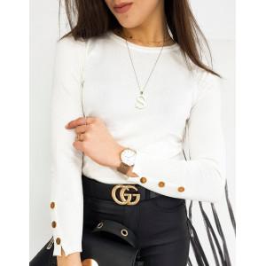 Smotanovo biely dámsky sveter s dlhým rukávom s gombičkami