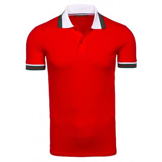 Červená pánska polokošeľa s bielym golierom
